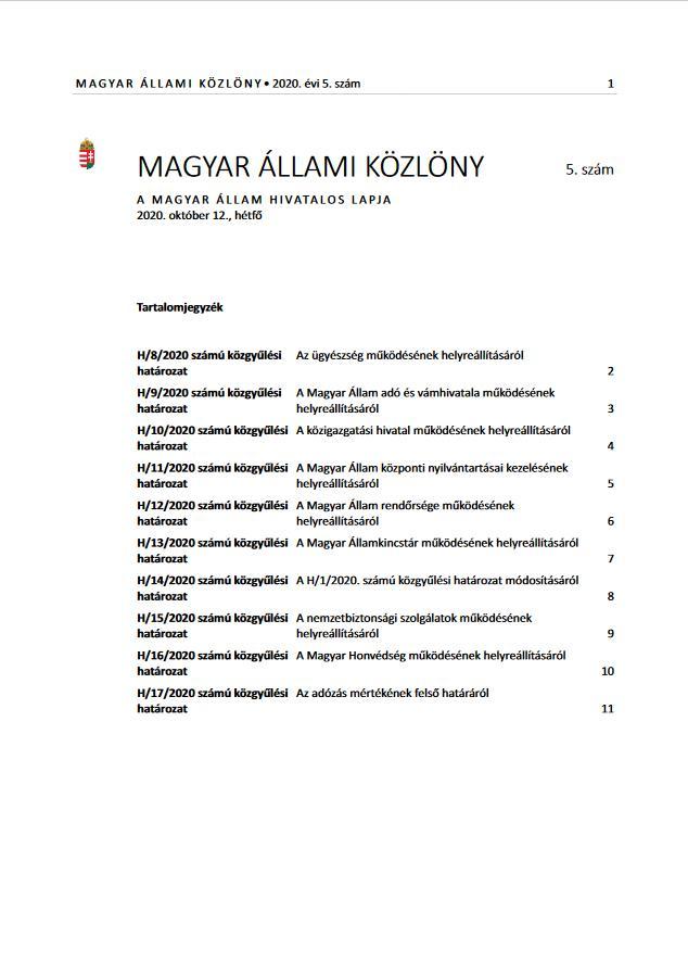 Megjelent a Magyar Állami Közlöny legújabb száma